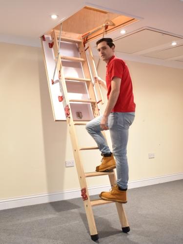 grand wooden loft ladder